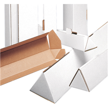 "2"" x 18.25"" White Triangle Shipping Mailer Mailing Storage Postal Tubes 50 Pc"